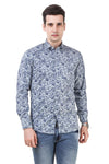 Floral Printed Tailored Fit Blue Cotton Shirt