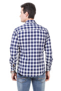 Check Tailored Fit Blue Cotton Shirt