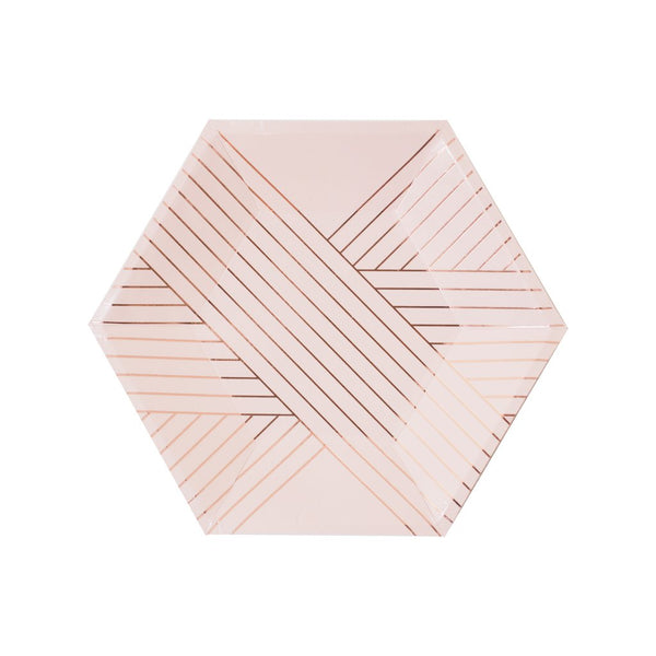 Amethyst - Pale Pink Striped Small Paper Plates - Whoot Party Boutique