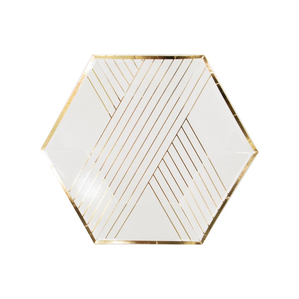 Blanc - White Striped Small Paper Plates - Whoot Party Boutique