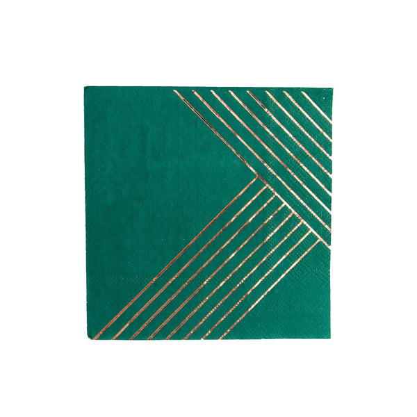 Manhattan - Dark Green Striped Cocktail Paper Napkins - Whoot Party Boutique