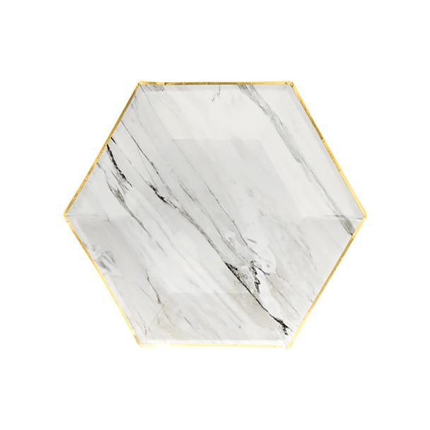 Blanc - White Marble Small Paper Plates - Whoot Party Boutique