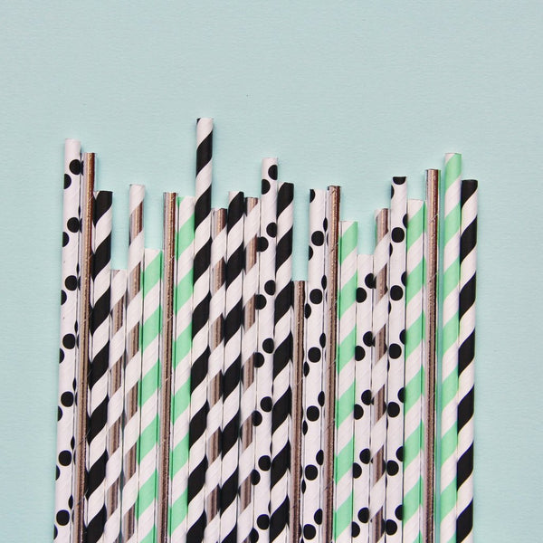 Memphis Mint Paper Straws - Whoot Party Boutique