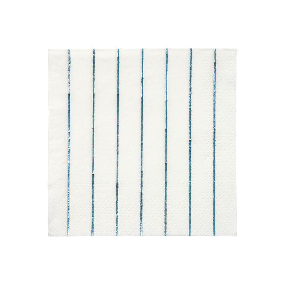 Holographic Blue Stripe Small Napkins - Whoot Party Boutique