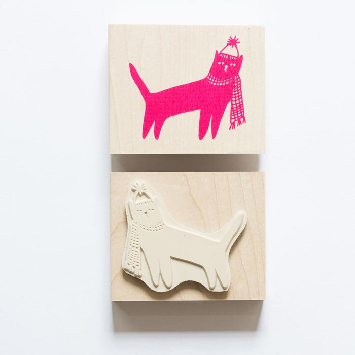 Cat In A Hat & Scarf Rubber Stamp - Whoot Party Boutique