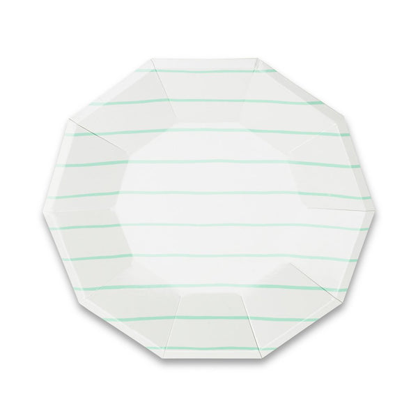 Frenchie Striped Large Plates - Mint - Whoot Party Boutique