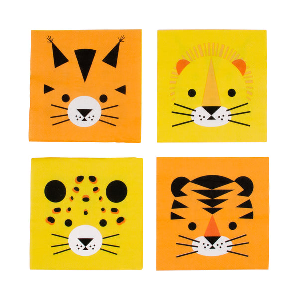 Mini Feline Animal Napkins - Whoot Party Boutique