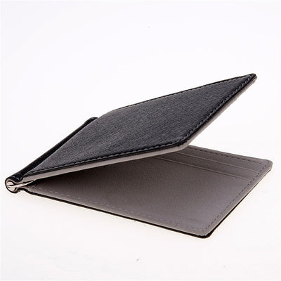 Men Wallet Short Skin Wallets Purses PU Leather Money Clips Sollid Thin Wallet