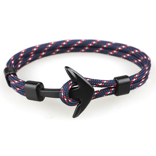 2018 New Fashion Black Color Anchor Bracelets Men Charm Survival Rope Chain