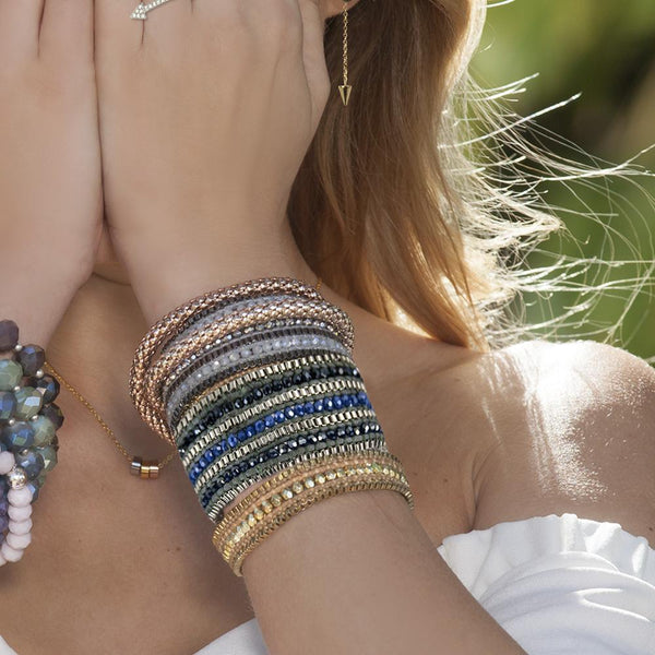 Metallic + Matte Beaded Cuff - Sapphire - BELLI~BELLE Boutique
