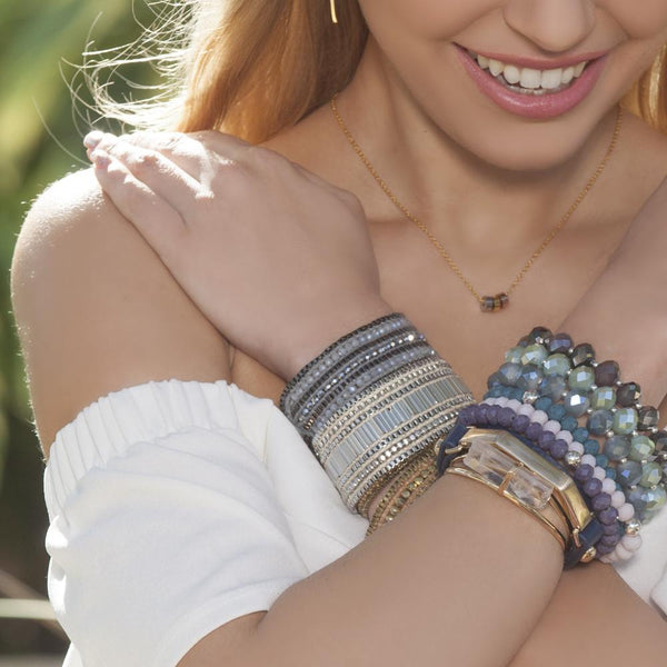 Metallic + Matte Beaded Cuff - Coal - Belli-Belle