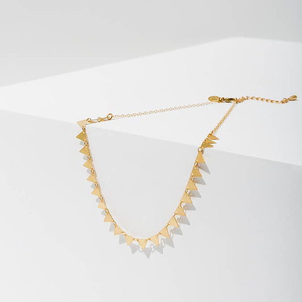 Chandra Antiqued Pyramid Necklace - Belli-Belle