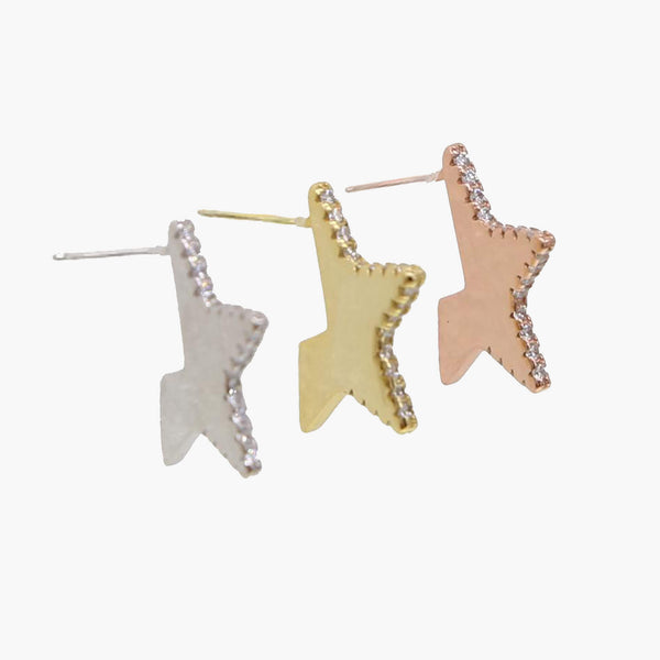 Kiera Floating Star Pave Stud Earrings - Belli-Belle