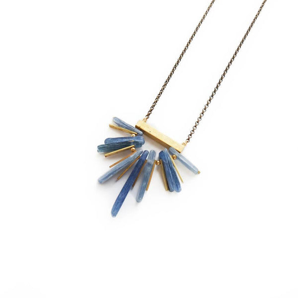 Teresa | Kyanite Fan Necklace - Belli-Belle