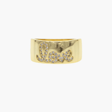 Load image into Gallery viewer, Love Band Ring with Scripted Pave CZ Stone Accents - Belli-Belle