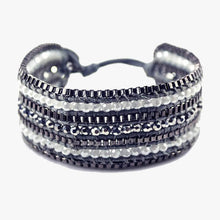 Load image into Gallery viewer, Metallic + Matte Beaded Cuff - Coal - Belli-Belle