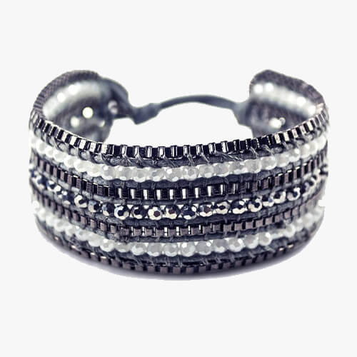 Metallic + Matte Beaded Cuff - Coal - BELLI~BELLE Boutique