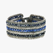 Load image into Gallery viewer, Metallic + Matte Beaded Cuff - Sapphire - Belli-Belle