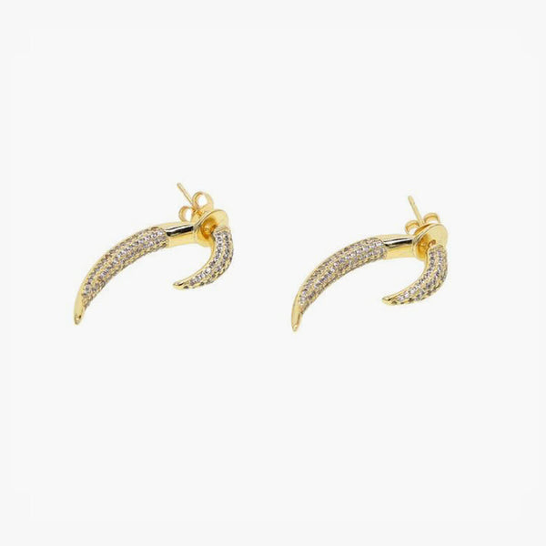 Pave Cubic Zirconia Horn Earrings - Gold - Belli-Belle