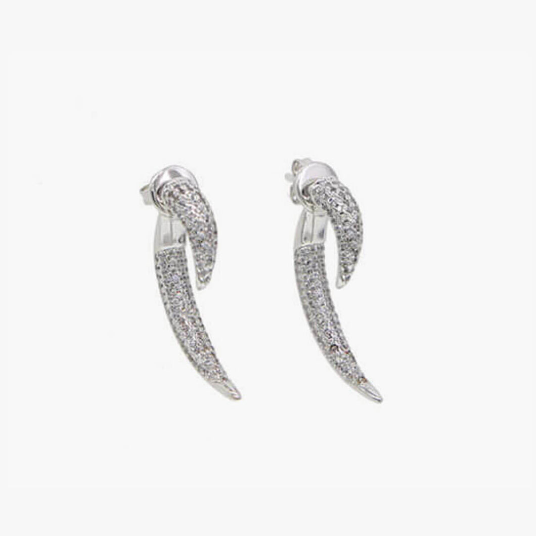 Pave Cubic Zirconia Horn Earrings - Platinum - Belli-Belle