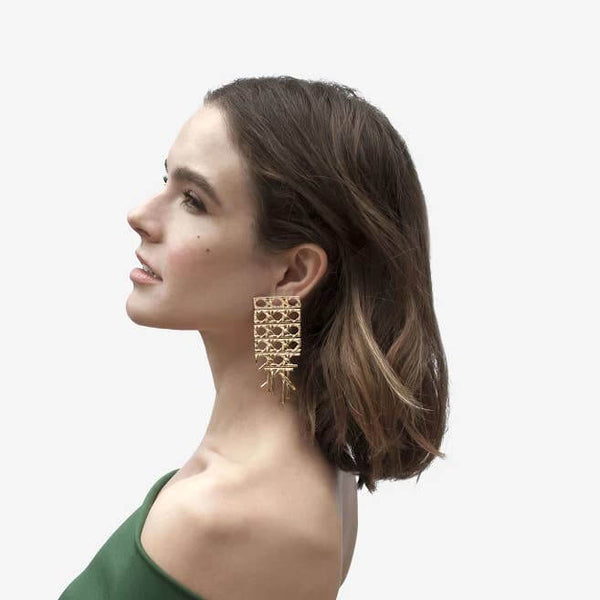 Candice | Cane Pattern Oversized Earrings - Belli-Belle