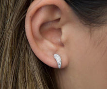 Load image into Gallery viewer, Pave Cubic Zirconia Horn Earrings - Platinum - Belli-Belle