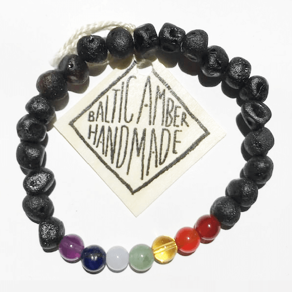 Yana | Natural Chakra Crystal and Amber Bead Bracelets - Belli-Belle