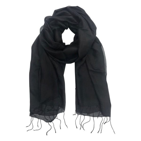 Alex | Black Silk Scarf - Belli-Belle