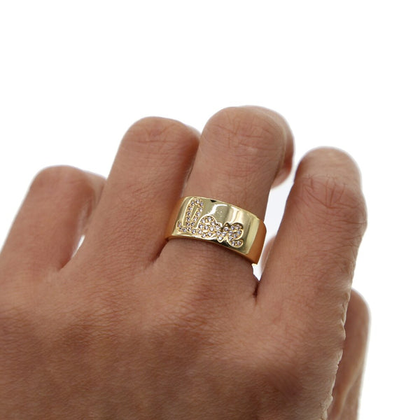 Love Band Ring with Scripted Pave CZ Stone Accents - Belli-Belle