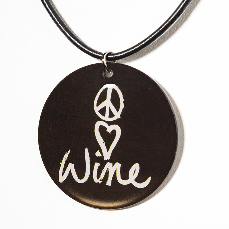 Cheeryos Jewelry peace love wine necklace handmade crafted wine lover black pendant necklace black leather cord gift idea