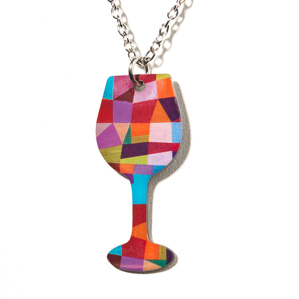 Cheeryos Jewelry abstract wine necklace handmade crafted wine glass pendant necklace