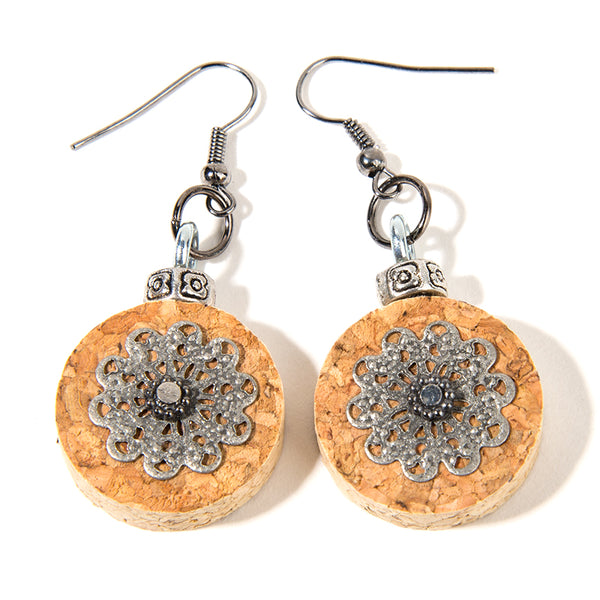 Floral Imprint Cork Earrings - Cheeryos Jewelry