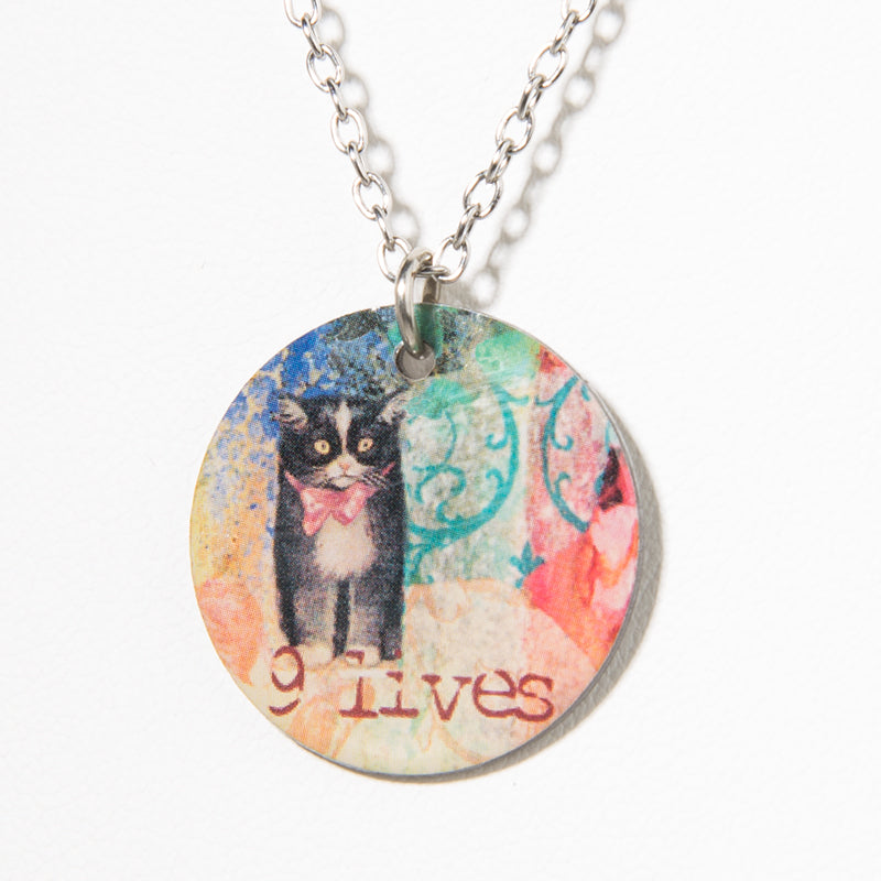 Cheeryos Jewelry 9 lives necklace handmade crafted cute cat collage necklace gift idea