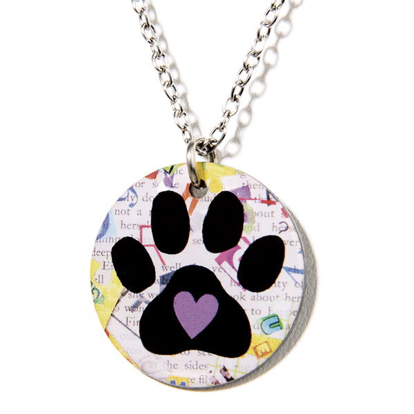 Cheeryos Jewelry paw print necklace handmade crafted paw print dog art pendant necklace