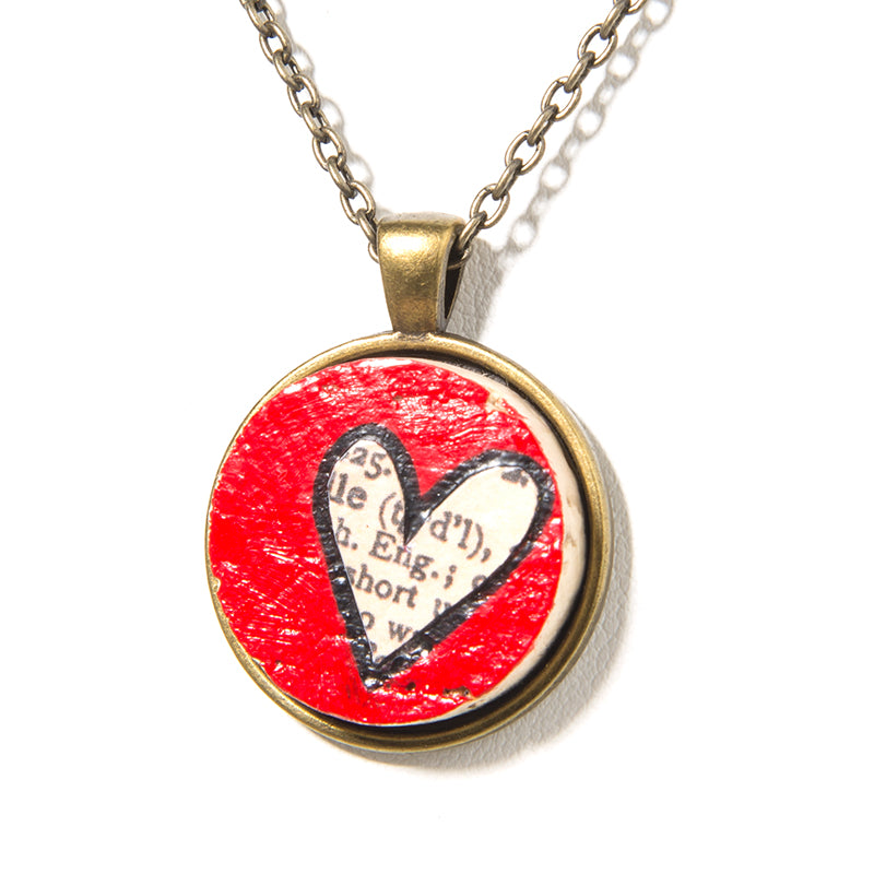 Cheeryos Jewelry love wine cork necklace handmade hand crafted one of a kind painted red heart scrapbook paper design wine cork necklace brass wine lover gift