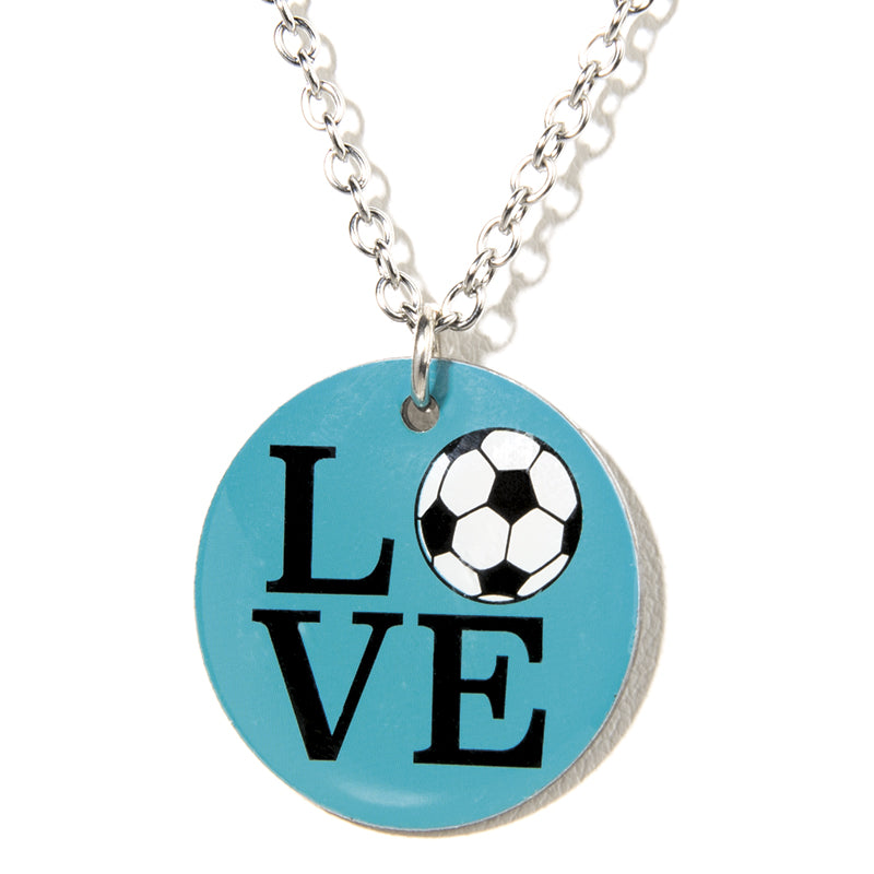 Cheeryos Jewelry love soccer necklace handmade crafted turquoise soccer lover ball pendant necklace gift idea