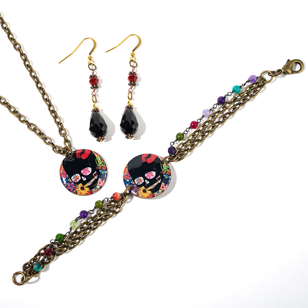 Cheeryos Jewelry sweet skull collection pendant necklace beaded bracelet earrings handmade crafted edgy skull lips colorful pendant necklace beaded earrings bracelet