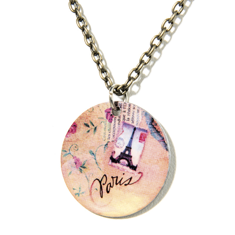 Cheeryos Jewelry french affair necklace handmade crafted Eiffel Tower Paris art collage necklace