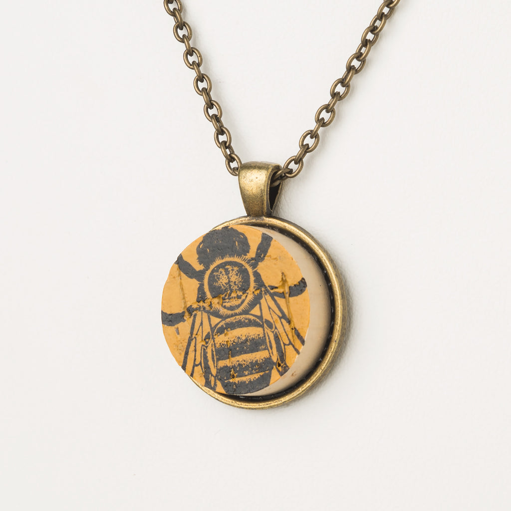 We Love Bees Cork Necklace - Cheeryos Jewelry