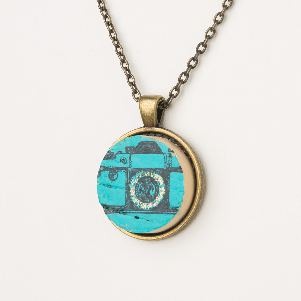 Vintage Camera Cork Necklace - Cheeryos Jewelry