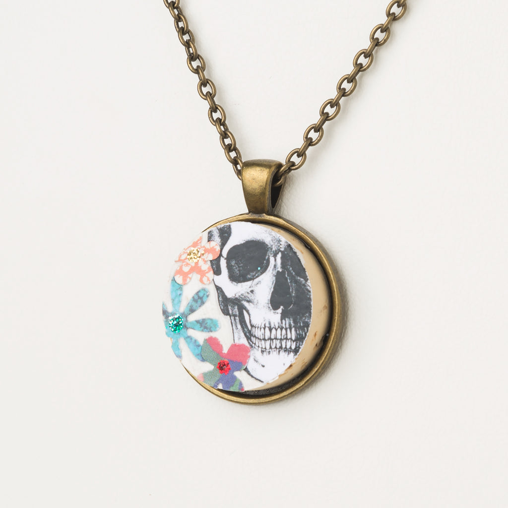 Floral Skull Cork Necklace - Cheeryos Jewelry