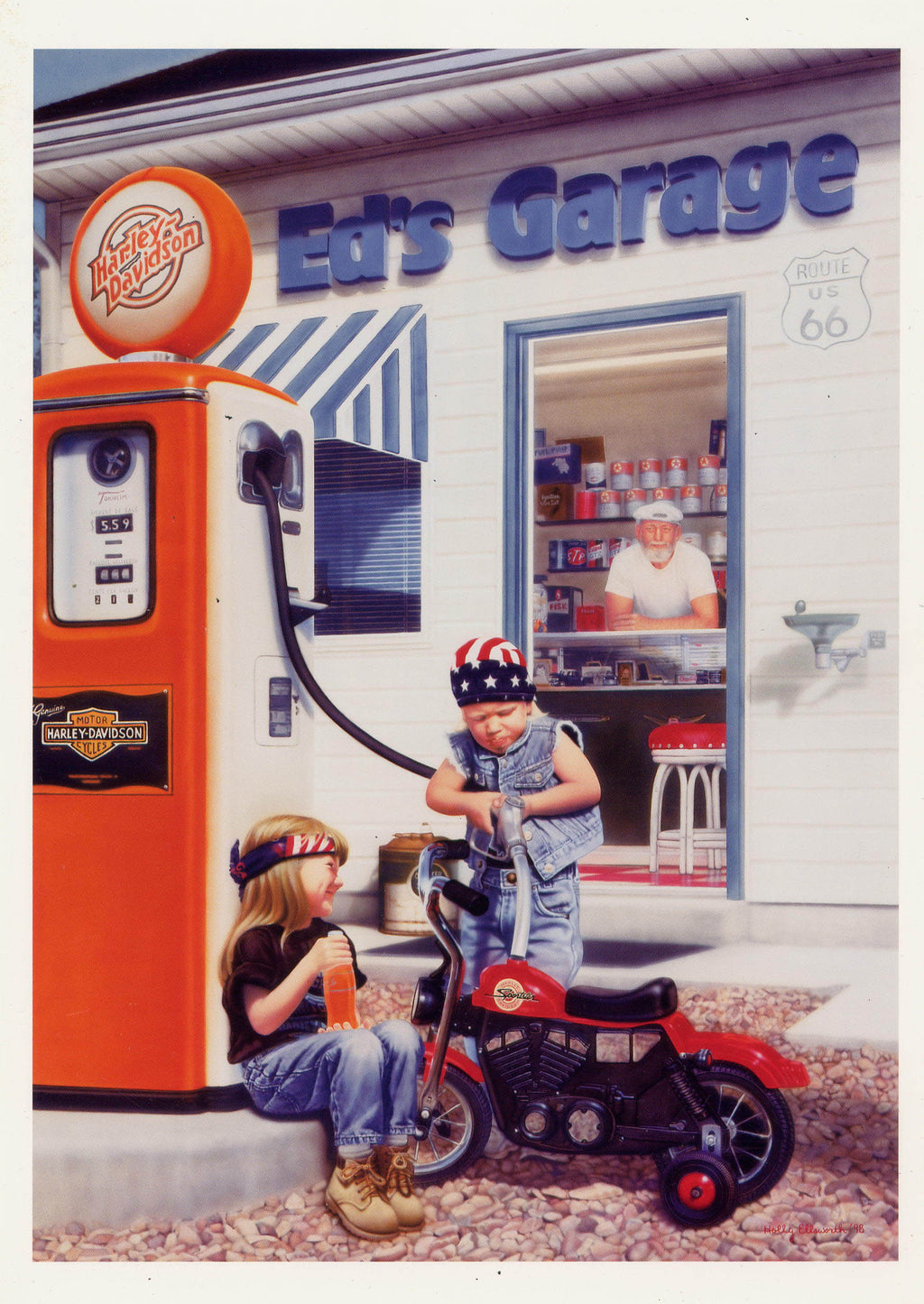 Fill 'er Up Harley Davidson Art Print - Cheeryos Jewelry