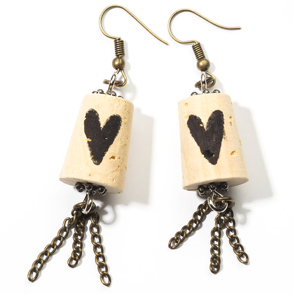 Heavy Metal Heart Cork Earrings - Cheeryos Jewelry
