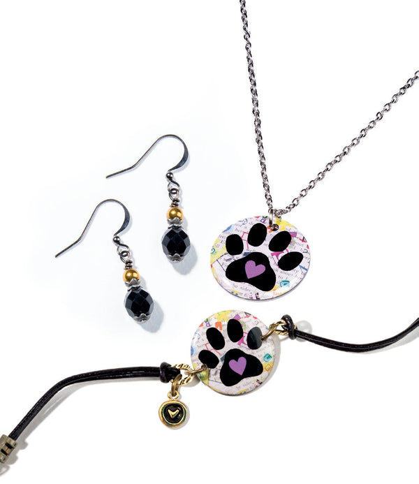 Cheeryos Jewelry paw print collection pendant necklace bracelet beaded earrings handmade crafted paw print dog art collage pendant necklace beaded earrings bracelet