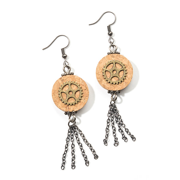 Cheeryos Jewelry steampunk cork earrings handmade hand crafted brass gears steampunk design wine cork vintage brass chain