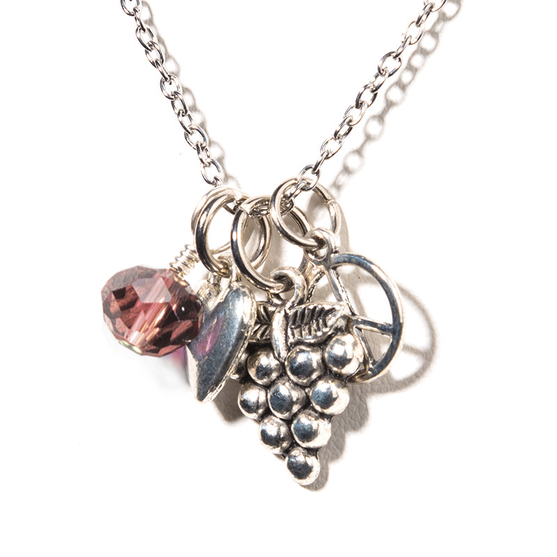 Wine Peace Charm Necklace - Cheeryos Jewelry