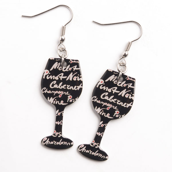 Wine Words Earrings - Cheeryos Jewelry