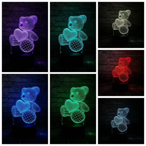 Led Night Light - Kids Teddy Bear - Bear With Balloon / Touch And Remote - Lighting
