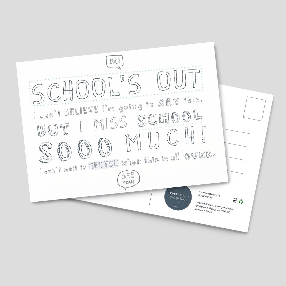 School's Out Colour In Postcard - 4 pack