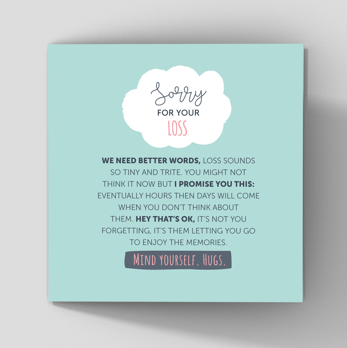 deepest sympathy card mint background about grief loss